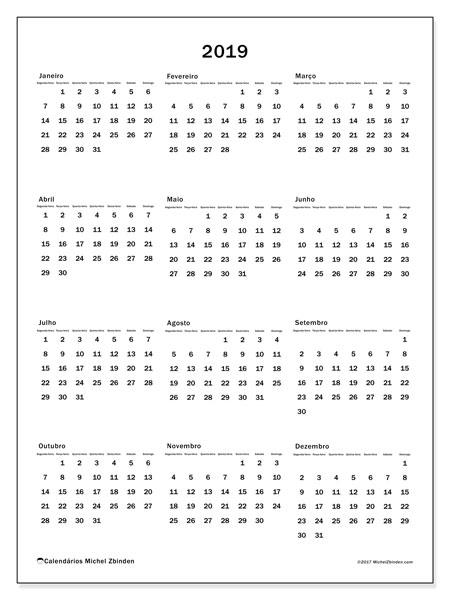 Calendário 2019, 33SD. Calendário para o ano para imprimir livre.