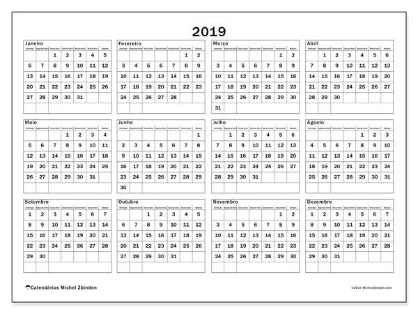 Calendário 2019, 34DS. Calendário para imprimir livre.