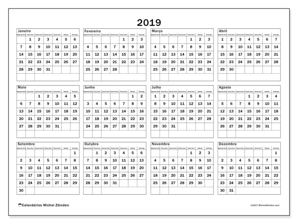Calendário 2019, 34SD. Calendário anual para imprimir gratuitamente.