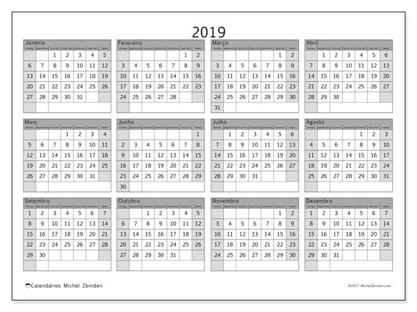 Calendário de  de 2019 (35DS). Calendário gratuito para imprimir.