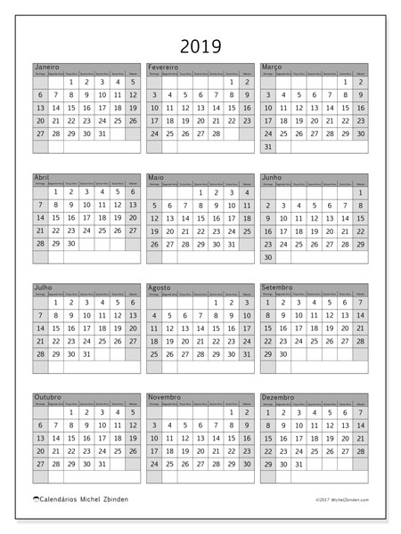 Calendário de  de 2019 (37DS). Calendário anual para imprimir gratuitamente.