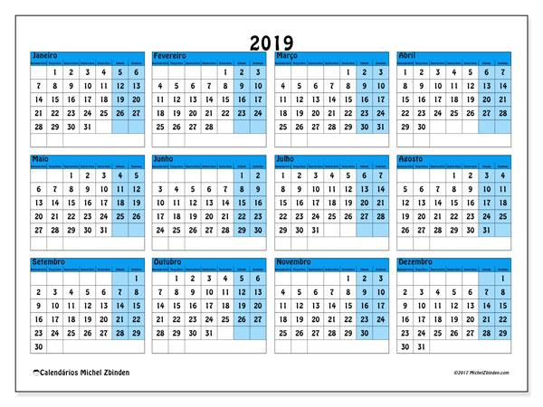 Calendário de  de 2019 (39SD). Calendário para imprimir livre.