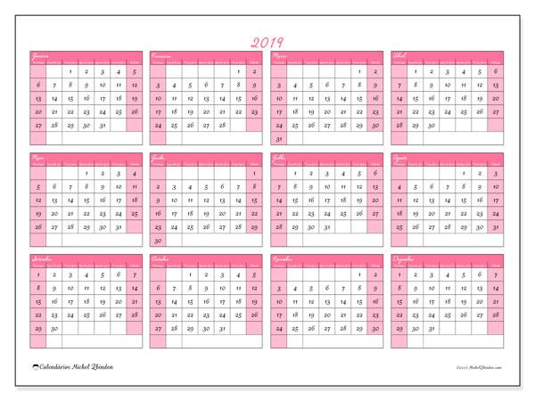 Calendário de  de 2019 (41DS). Calendário gratuito para imprimir.