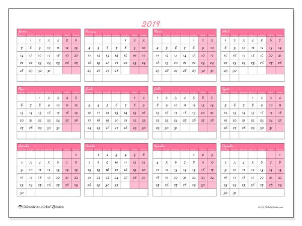 Calendário 2019, 41SD. Calendário anual para imprimir gratuitamente.