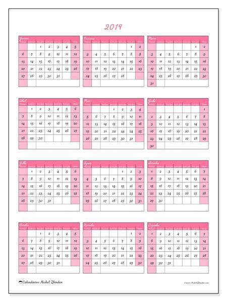 Calendário 2019, 42DS. Calendário para o ano para imprimir livre.