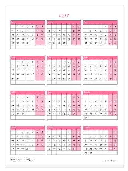Calendário 2019, 42SD. Calendário gratuito para imprimir.