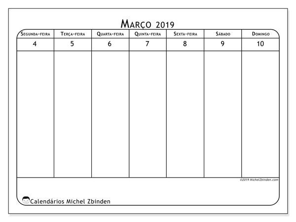 Calendário 2019, 43-10SD. Agenda para imprimir livre.