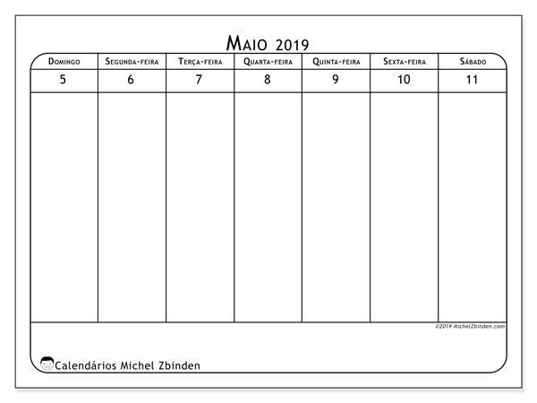 Calendário 2019, 43-19DS. Calendário semanal para imprimir gratuitamente.