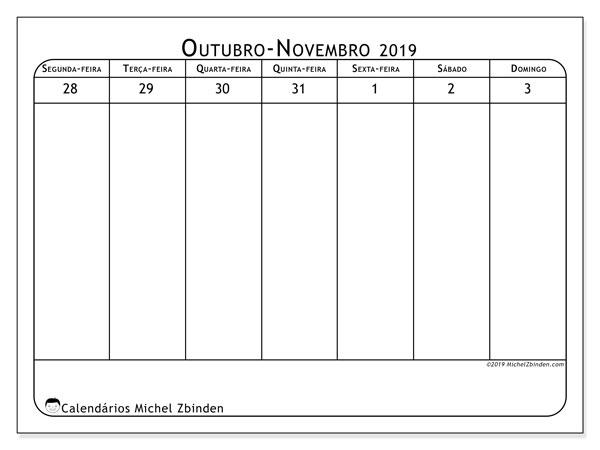 Calendário 2019, 43-44SD. Calendário para a semana para imprimir livre.