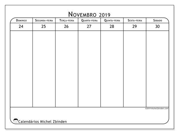 Calendário 2019, 43-48DS. Calendário semanal para imprimir gratuitamente.