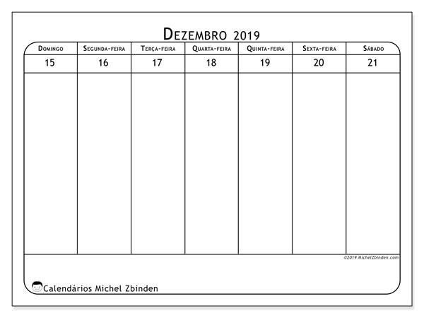 Calendário 2019, 43-51DS. Horário para imprimir livre.