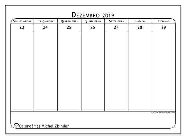 Calendário 2019, 43-52SD. Calendário para imprimir livre.