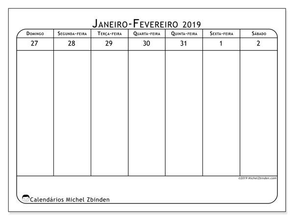 Calendário 2019, 43-5DS. Calendário semanal para imprimir gratuitamente.