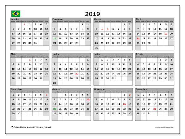 Calendário em  de 2019, com feriados públicos do Brasil. Agenda para imprimir livre.