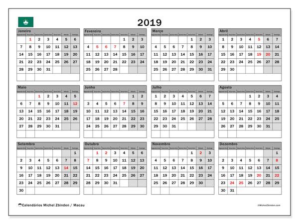 Calendário 2019, com as festas do Macau. Calendário feriados para imprimir gratuitamente.