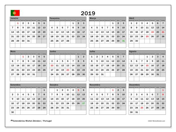 Calendário em  de 2019, com feriados públicos em Portugal. Agenda para imprimir livre.