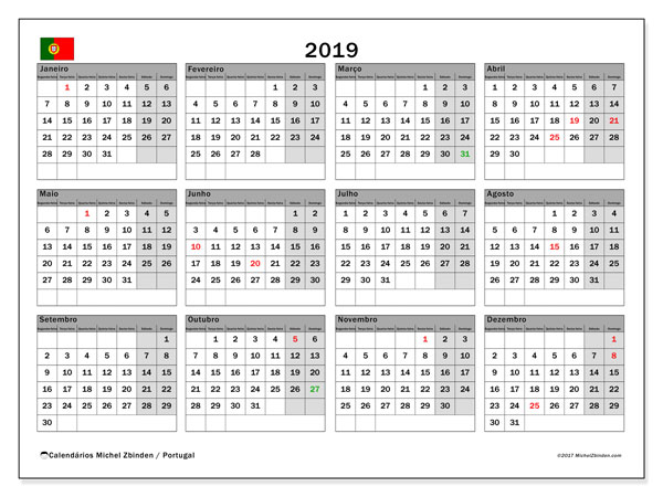 Calendario 2020 Portugues Com Feriados.Calendario 2019 Portugal Michel Zbinden Pt