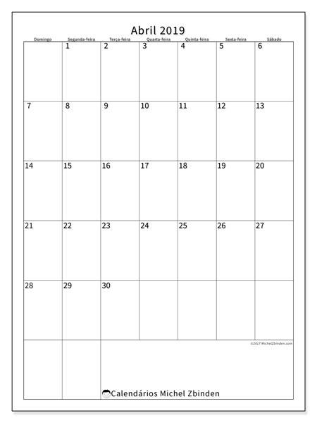 Calendário abril 2019, 52DS. Calendário mensal para imprimir gratuitamente.