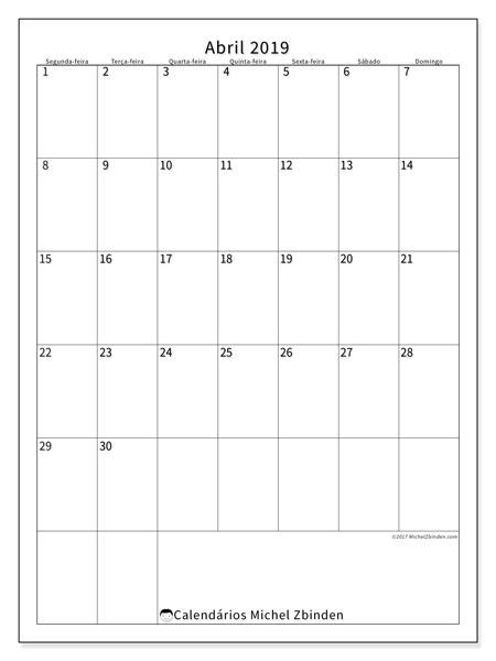 Calendário abril 2019, 52SD. Calendário para imprimir gratuitamente.