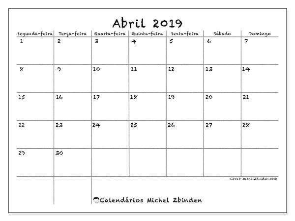 Mini Calendario 2019 Para Imprimir Grande.Calendario Mensal A4