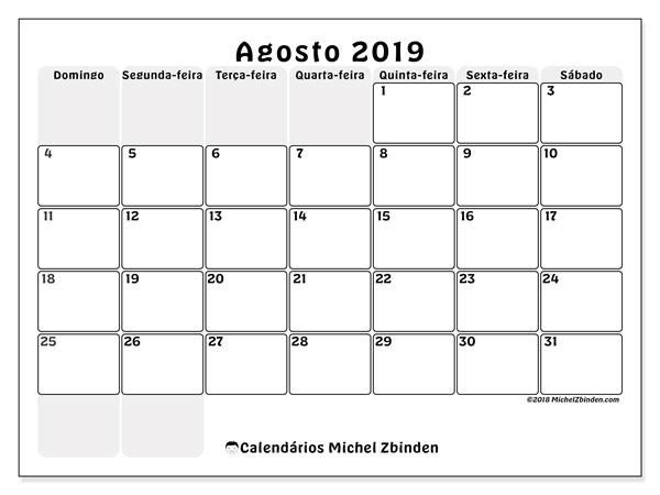 Calendário agosto 2019, 44DS. Calendário gratuito para imprimir.