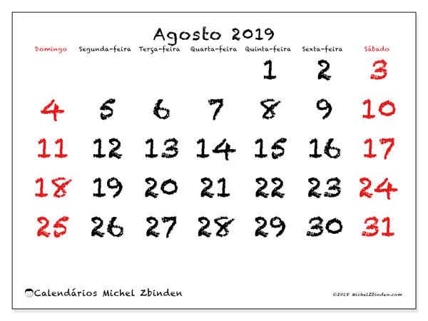Calendário agosto 2019, 46DS. Horário para imprimir livre.