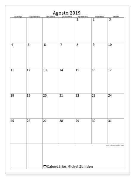 Calendário agosto 2019, 52DS. Calendário mensal para imprimir gratuitamente.
