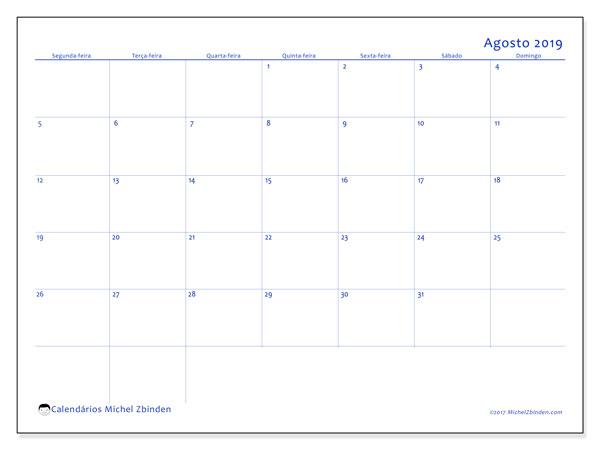 Calendário agosto 2019, 55SD. Calendário mensal para imprimir gratuitamente.