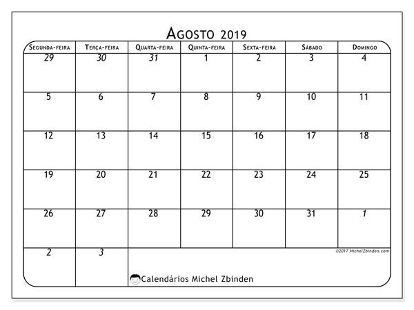 Calendário agosto 2019, 67SD. Calendário gratuito para imprimir.