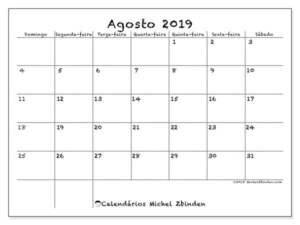 Calendário agosto 2019, 77DS. Calendário para o mês para imprimir livre.