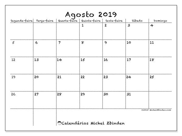 Calendário agosto 2019, 77SD. Calendário para o mês para imprimir livre.