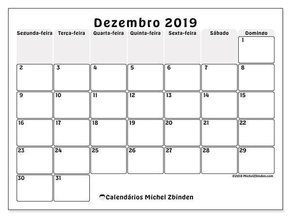 Calendário dezembro 2019, 44SD. Calendário para o mês para imprimir livre.