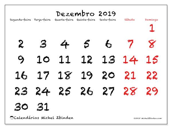 Calendário dezembro 2019, 46SD. Calendário gratuito para imprimir.