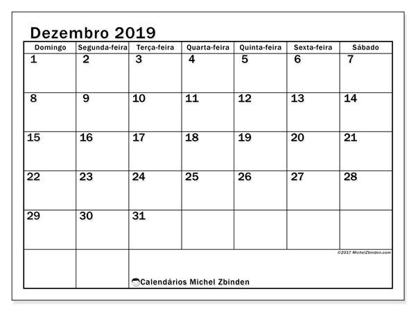 Calendário dezembro 2019, 50DS. Calendário gratuito para imprimir.