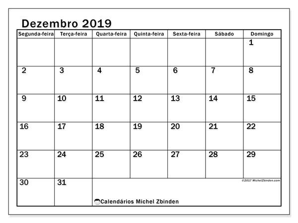 Calendário dezembro 2019, 50SD. Calendário mensal para imprimir gratuitamente.