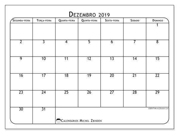 Calendário dezembro 2019, 51SD. Calendário para o mês para imprimir livre.