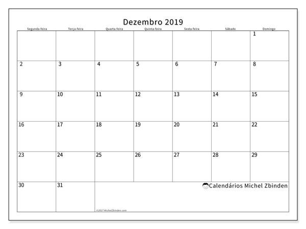 Calendário dezembro 2019, 53SD. Calendário gratuito para imprimir.
