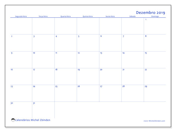 Calendário dezembro 2019, 55SD. Calendário para o mês para imprimir livre.