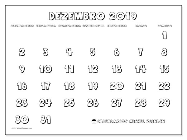 Calendário dezembro 2019, 56SD. Calendário para o mês para imprimir livre.