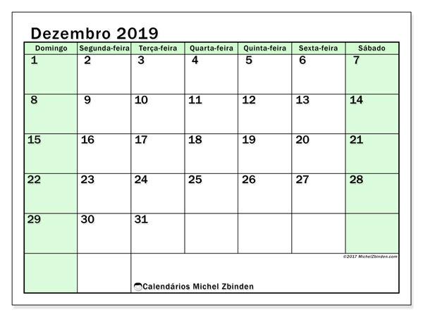 Calendário dezembro 2019, 60DS. Calendário para o mês para imprimir livre.