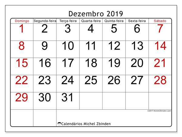 Calendário dezembro 2019, 62DS. Calendário para imprimir livre.