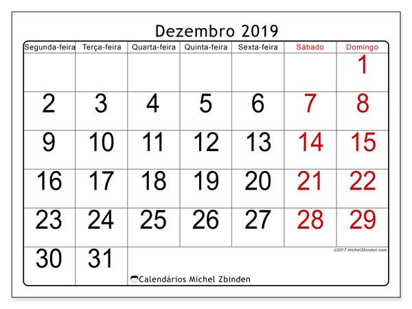 Calendário dezembro 2019, 62SD. Agenda para imprimir livre.
