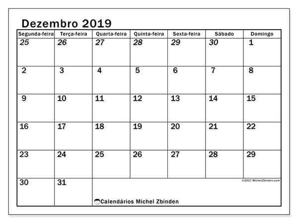 Calendário dezembro 2019, 66SD. Calendário gratuito para imprimir.