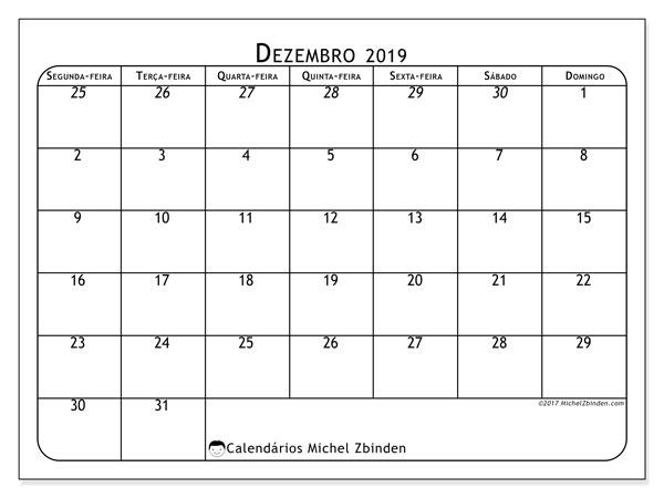 Calendário dezembro 2019, 67SD. Calendário para imprimir gratuitamente.