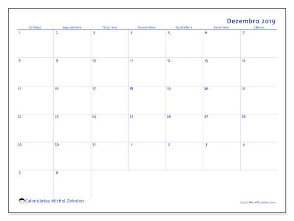 Calendário dezembro 2019, 73DS. Calendário gratuito para imprimir.