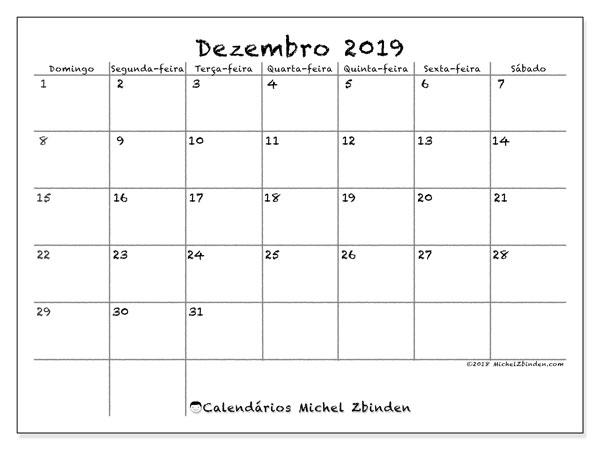 Calendário dezembro 2019, 77DS. Horário para imprimir livre.