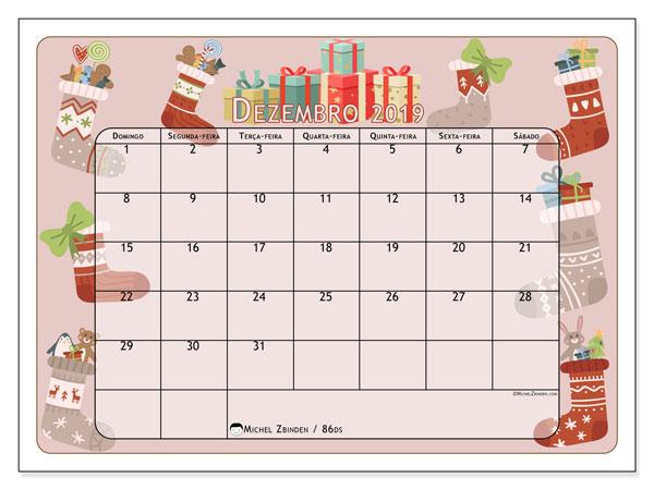 Calendário dezembro 2019, 86DS. Presente de Natal e meias. Calendário para imprimir livre.