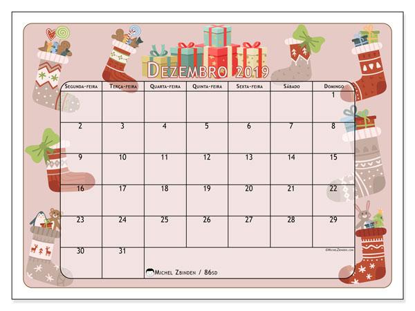 Calendário dezembro 2019, 86SD. Presente de Natal e meias. Calendário para imprimir livre.