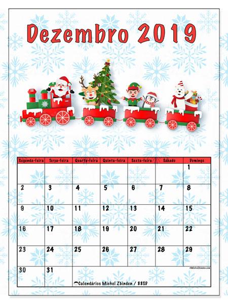 Calendário dezembro 2019, 88SD. Trem do Papai Noel. Calendário gratuito para imprimir.