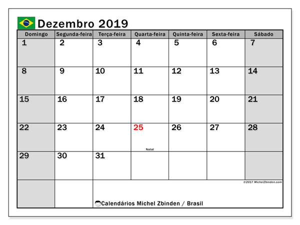 Calendário dezembro 2019, com as festas do Brasil. Calendário feriados para imprimir gratuitamente.